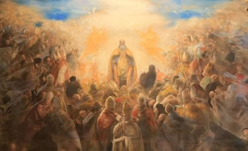 La Gloria de San Benito que decora la entrada de la Basílica de Monte Cassino. Fresco de Pietro Annigoni.