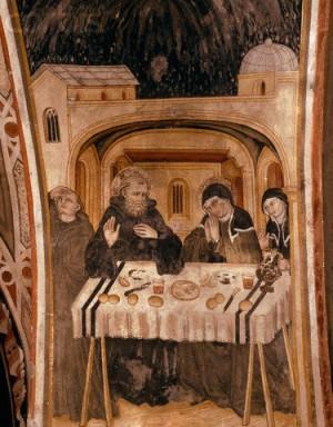 El ultimo coloquio entre los hermanos gemelos San Benito y Santa Escolástica.  Monasterio de Sacro Speco, Subiaco (Italia).