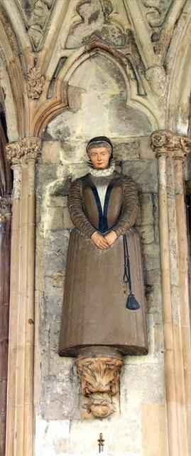 Detalle de la imagen de la Santa que se venera en la iglesia de Santa Etheldreda de Londres, Reino Unido.