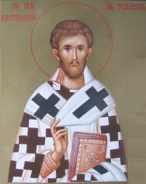 Icono ortodoxo rumano del Santo en su atuendo episcopal.