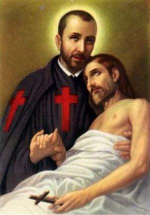 Conocida estampa del Santo abrazando a un enfermo.