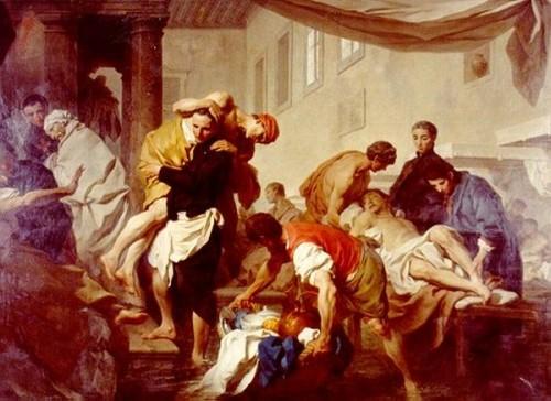 El Santo atendiendo a los enfermos. Lienzo de Pierre Sybleyras, s. XVIII.