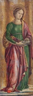 Detalle de Santa Dignamérita en una tabla de Ludovico d'Angelo. Galleria Nazionalle dell'Umbria, Perugia (Italia).