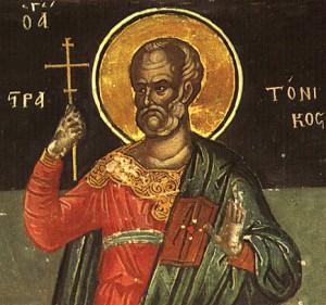 Detalle de San Estratónico en un fresco ortodoxo griego.