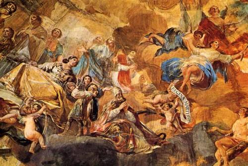 """Detalle de los frescos de Francisco de Goya y Lucientes en la cúpula """"Regina Martyrum"""" en la Basílica de Nuestra Señora del Pilar, Zaragoza (España). A la izquierda se ve a la Santa con los Santos Justo y Pastor."""