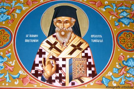 Fresco ortodoxo de San Bretanión en su atuendo de obispo.