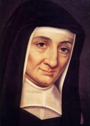Detalle del rostro de la Santa en un retrato.