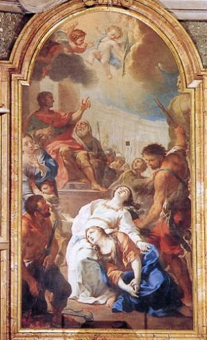 Martirio de las Santas. Óleo de Pietro Barberi. Capilla Muti. Iglesia de San Marcelo al Corso, Roma (Italia). Fuente: wwww.sanmarcelloalcorso.it