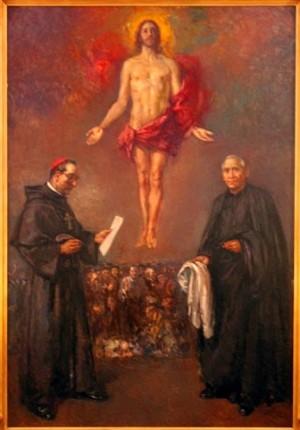 Lienzo contemporáneo de los Beatos, obra de Agustín Alegre. Cripta de los Mártires, Catedral de Santa María de Mediavilla, Teruel (España).