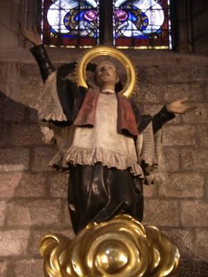 Escultura del Santo, obra de Ramon Amadeu (s.XVIII). Capilla del Santo en la iglesia de Santa Maria del Pi, Barcelona (España).