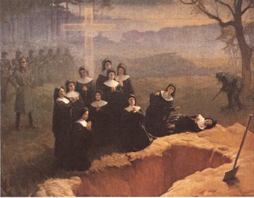 Las Hermanas de la Sagrada Familia de Nazaret son fusiladas frente a su tumba. Lienzo contemporáneo.