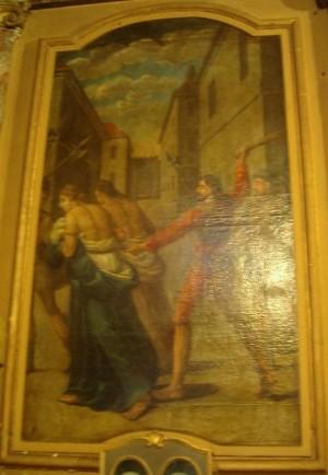 Las Santas son azotadas y expulsadas de la ciudad. Oratorio Saint Michel, Mas-Saintes-Puelles, Francia.