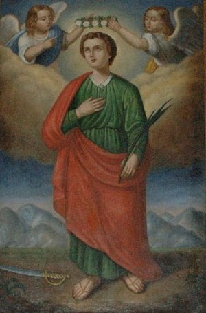 Óleo del mártir; la espada como emblema del martirio aparece a sus pies.
