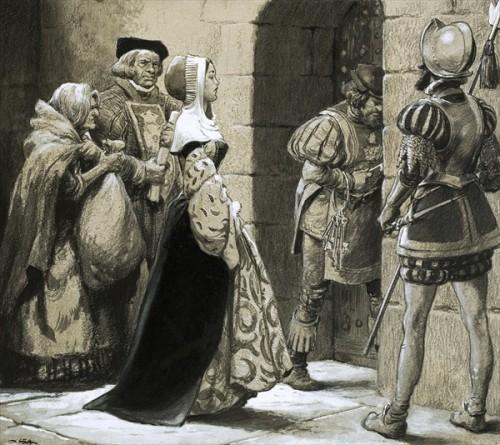 Anne Askew enviada a prisión. Ilustración contemporánea.