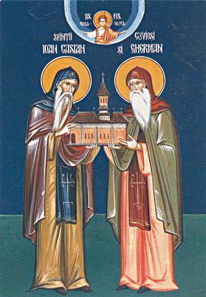 Icono ortodoxo rumano de los dos Santos.