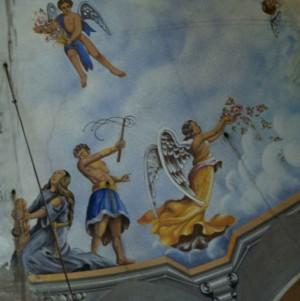 Detalle del martirio de la Santa en las pinturas del ábside de su iglesia en Poble Sec, Barcelona (España). Fotografía: José Mª Ramón.