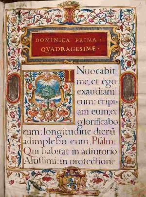 Misal con la misa para el primer domingo de Cuaresma (1635). Biblioteca Capitular de Toledo, España. Fuente: http://www.bne.es/