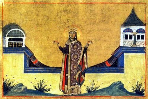 Iluminación de la Santa, revestida de la púrpura imperial, en el Menologio de Basilio II. Biblioteca Apostólica Vaticana, Roma (Italia).
