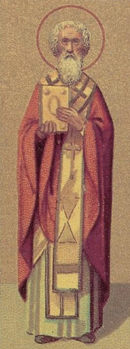 Detalle del Santo en la ilustración de un calendario para el Prólogo de Ochrid.