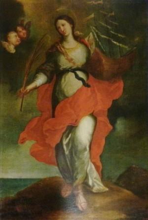 Óleo de la Santa con su atributo principal, el barco. Círculo de Francesc Tramulles, ss.XVII-XVIII. Sacristía de la catedral de Barcelona (España).