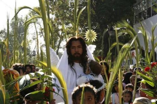 Representación del Domingo de Ramos en Iztapalapa, México.