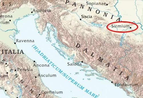 Ubicación de la ciudad de Sirmio, en la provincia romana de Panonia, en tiempos de Diocleciano.