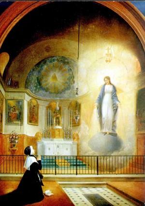 Aparición de la Virgen Inmaculada a la Santa en la capilla de Rue du Bac, París.