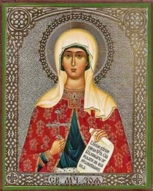 Icono ortodoxo griego de Santa Zoe, mártir de Atalia.