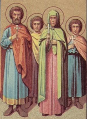 Representación de los mártires de Atalia en un calendario ortodoxo para el Prólogo de Ochrid.