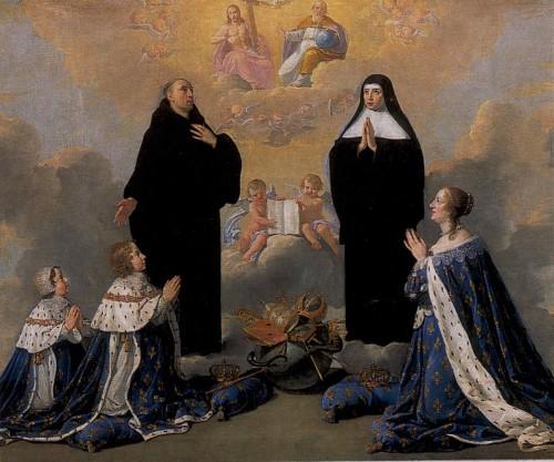 Ana de Austria y sus hijos rezando ante los Santos Benito y Escolástica. Lienzo de Philippe de Champagne en el retablo de las reliquias de Santa Escolástica, Juvigny-sur-Loison (Francia).