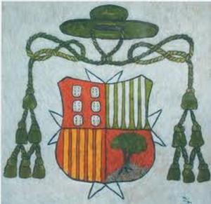Escudo episcopal de Don Vasco, actualmente escudo de la Arquidiócesis de Morelia, México.