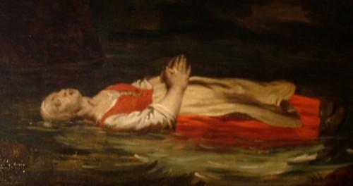 Detalle de un lienzo barroco donde se ve el cuerpo de la mártir flotando en el río. Iglesia de San Pedro, Lovaina (Bélgica).