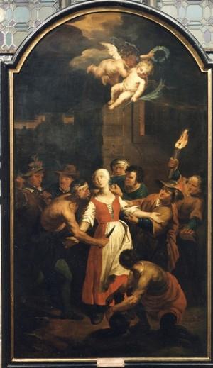 Martirio de la Beata. Lienzo de Pierre Joseph Verhaghen. Museo de Lovaina, Bélgica.