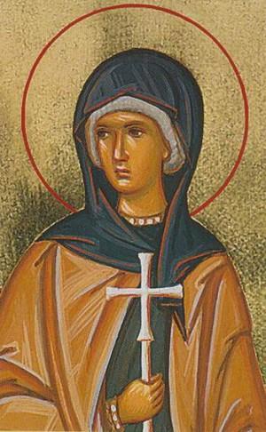 Detalle de la Santa en un icono ortodoxo rumano.