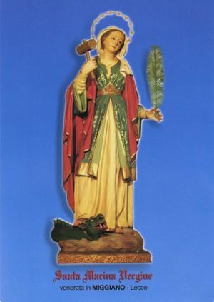 Vista de la imagen de Santa Marina virgen que se venera en la ciudad italiana de Miggiano, que motivó la pregunta, y que es un buen ejemplo de sincretismo entre tradición católica y ortodoxa, pues lleva el dragón de una y la maza de la otra.