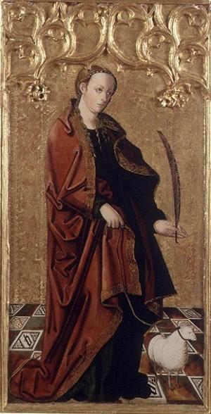 Tabla gótica de Santa Inés, mártir romana, procedente de la Cartuja de Portacoeli. Museo de Bellas Artes Pío V, Valencia (España).