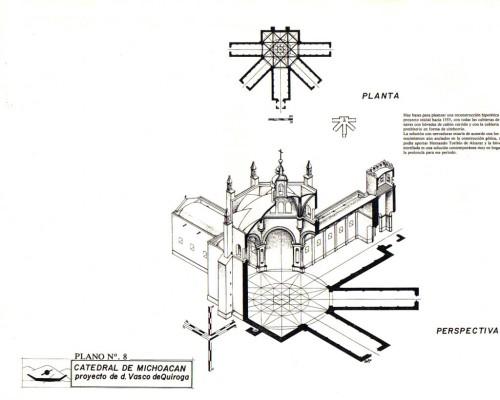 Proyecto de la catedral de Michoacán, ideado por el Siervo de Dios, que finalmente no se realizó.