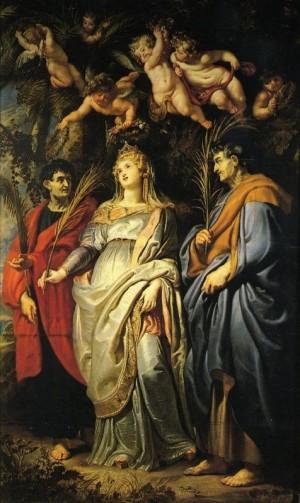 Los mártires Domitila, Nereo y Aquiles. Lienzo de Peter Paul Rubens. Iglesia de Santa Maria In Vallicella, Roma (Italia).