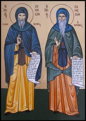 Icono ortodoxo griego de San Simeón el Nuevo Teólogo (izqda.) y su padre espiritual, San Simeón Eulabes (dcha.)