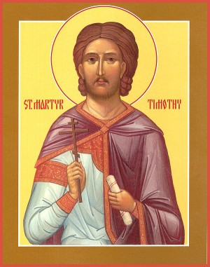 Icono ortodoxo americano de San Timoteo, lector y mártir de Antínoe.