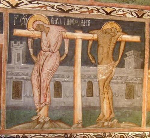 Muerte de los Santos en la cruz. Fresco ortodoxo en el monasterio de San Juan el Nuevo de Suceava, Rumanía.