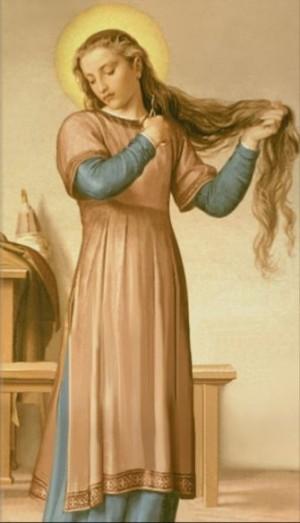 La Santa se corta el cabello como símbolo de su renuncia al mundo. Detalle de la pintura de Alessandro Fraschi (1893-96), Casa-Santuario de la Santa en Siena, Italia.