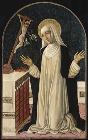 La Santa en oración. Tabla gótica de Giovanni di Matteo (siglo XV).