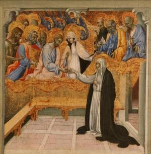 Desposorios místicos de la Santa. Tabla gótica de Giovanni di Paolo di Grazia (siglo XV).
