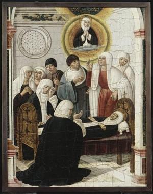 Muerte de la Santa. Tabla de Girolamo di Benvenuto (siglo XVI).