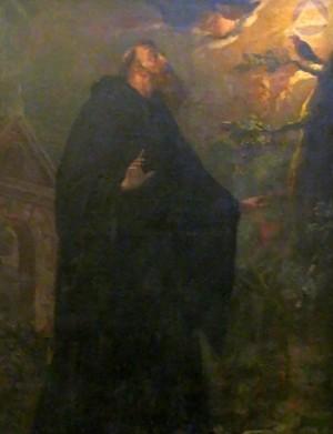 San Virila y el ruiseñor, óleo conservado en Leyre, Navarra (España).