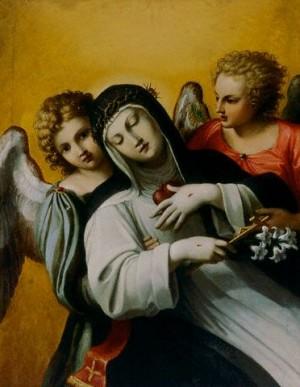 Éxtasis de la Santa. Óleo de Agostino Carracci (ca. 1590). Galeria Borghese, Roma (Italia).