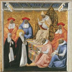 La Santa ante el Papa en Aviñón. Tabla gótica de Giovanni di Paolo (ca.1460-63). Museo Thyssen-Bornemisza, Madrid (España).
