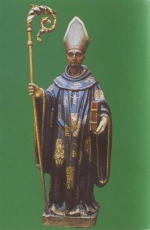Antigua imagen policromada de San Virila venerada en el Monasterio de Leyre.