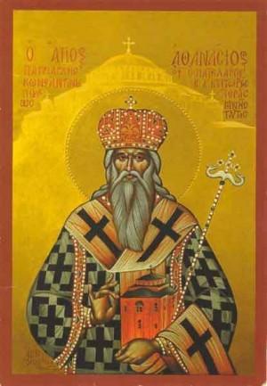 Icono ortodoxo griego del Santo en su atuendo de Patriarca.
